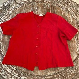 Tops - (3/$20) Dress Jacket~ Red Short Sleeve ~ Plus 1x